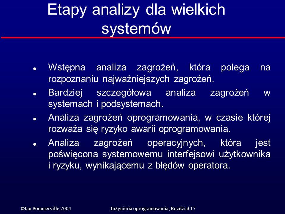©Ian Sommerville 2004Inżynieria oprogramowania, Rozdział 17 Etapy analizy dla wielkich systemów l Wstępna analiza zagrożeń, która polega na rozpoznani