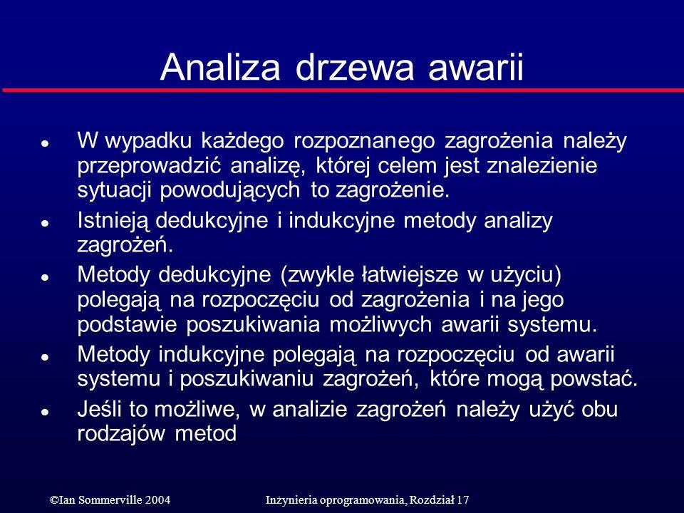 ©Ian Sommerville 2004Inżynieria oprogramowania, Rozdział 17 Analiza drzewa awarii l W wypadku każdego rozpoznanego zagrożenia należy przeprowadzić ana