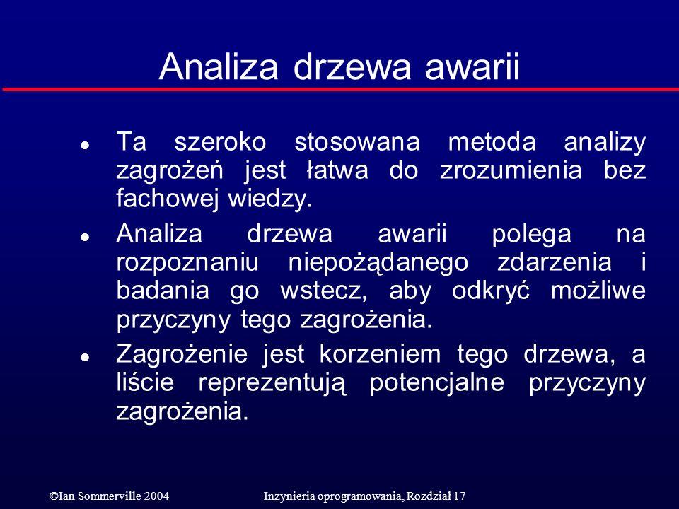 ©Ian Sommerville 2004Inżynieria oprogramowania, Rozdział 17 Analiza drzewa awarii l Ta szeroko stosowana metoda analizy zagrożeń jest łatwa do zrozumi