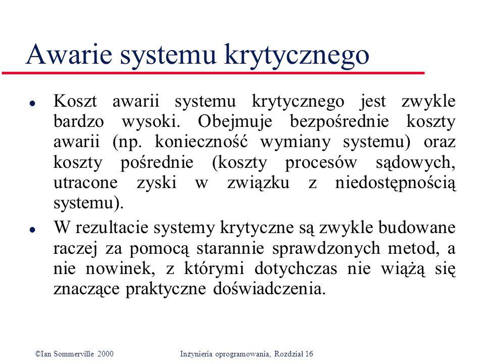 ©Ian Sommerville 2000Inżynieria oprogramowania, Rozdział 16 Awarie systemu krytycznego l Koszt awarii systemu krytycznego jest zwykle bardzo wysoki.