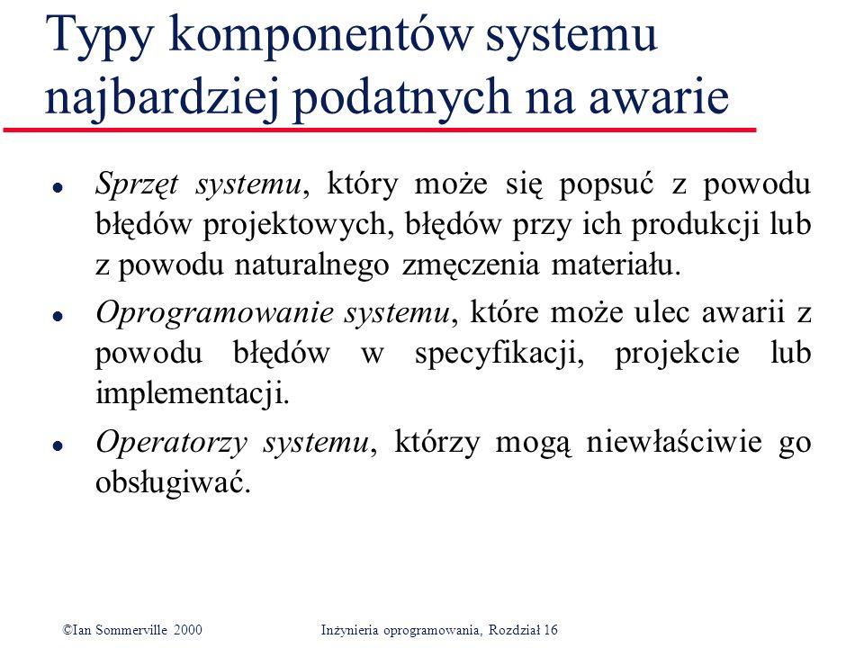 ©Ian Sommerville 2000Inżynieria oprogramowania, Rozdział 16 Typy komponentów systemu najbardziej podatnych na awarie l Sprzęt systemu, który może się popsuć z powodu błędów projektowych, błędów przy ich produkcji lub z powodu naturalnego zmęczenia materiału.