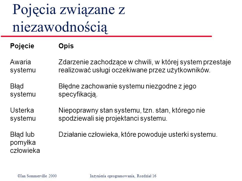 ©Ian Sommerville 2000Inżynieria oprogramowania, Rozdział 16 Pojęcia związane z niezawodnością Pojęcie Opis Awaria Zdarzenie zachodzące w chwili, w której system przestaje systemurealizować usługi oczekiwane przez użytkowników.