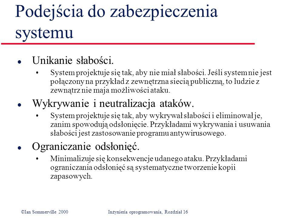 ©Ian Sommerville 2000Inżynieria oprogramowania, Rozdział 16 Podejścia do zabezpieczenia systemu l Unikanie słabości.