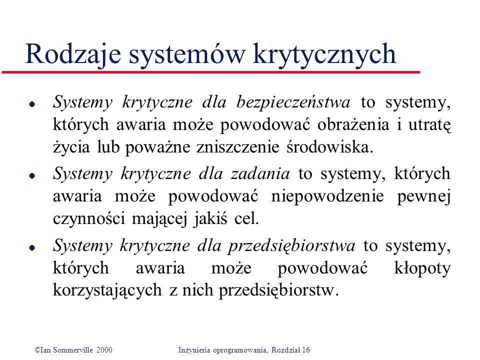 ©Ian Sommerville 2000Inżynieria oprogramowania, Rozdział 16 Rodzaje systemów krytycznych l Systemy krytyczne dla bezpieczeństwa to systemy, których awaria może powodować obrażenia i utratę życia lub poważne zniszczenie środowiska.