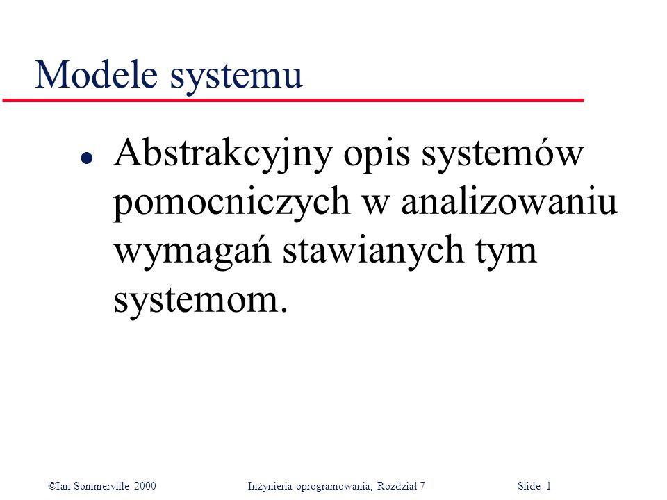 ©Ian Sommerville 2000 Inżynieria oprogramowania, Rozdział 7 Slide 2 Cele l wiedzieć, dlaczego modelowanie kontekstu systemu jest takie ważne; l znać pojęcie modelowania zachowania, modelowania danych i modelowania obiektowego; l znać podstawy niektórych notacji zdefiniowanych w Unified Modeling Language (UML) oraz wiedzieć, jak używać tych notacji do budowania różnych typów modeli systemu; l wiedzieć, w jaki sposób warsztaty CASE wspomagają modelowanie systemu.