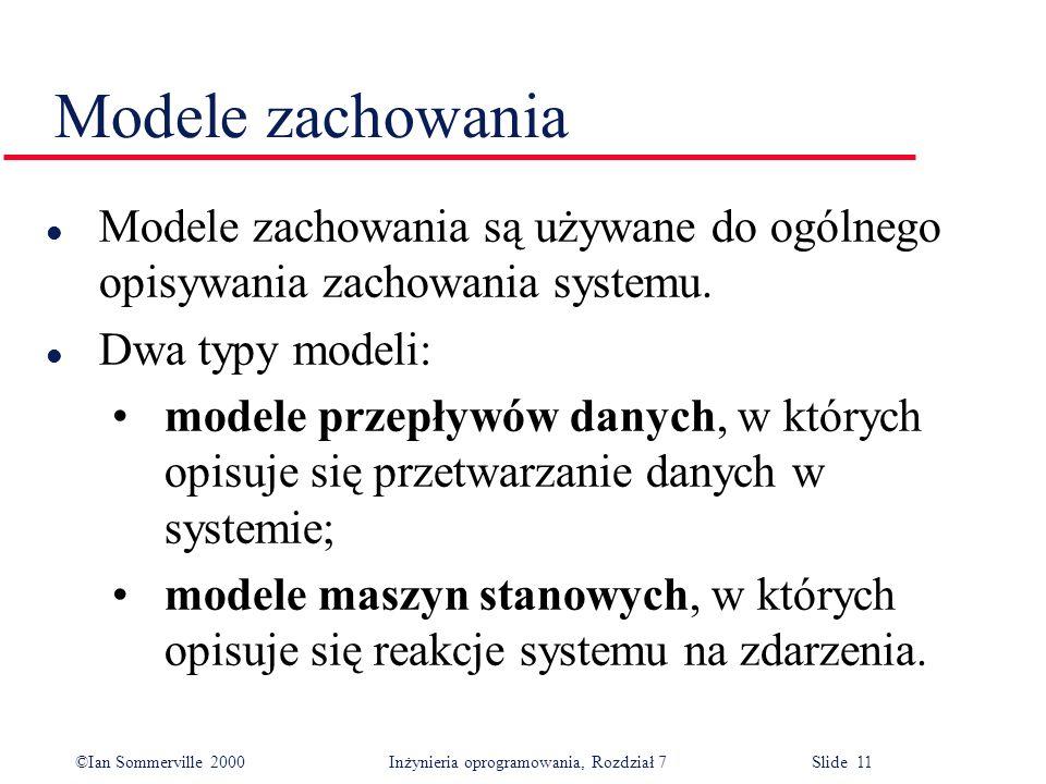 ©Ian Sommerville 2000 Inżynieria oprogramowania, Rozdział 7 Slide 11 Modele zachowania l Modele zachowania są używane do ogólnego opisywania zachowani
