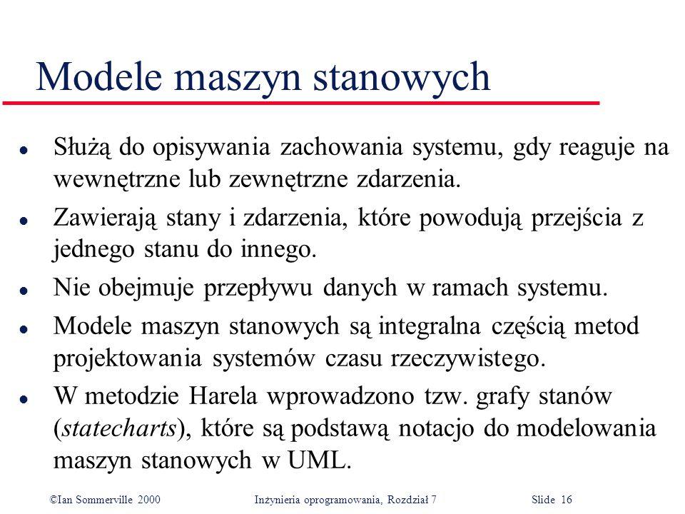 ©Ian Sommerville 2000 Inżynieria oprogramowania, Rozdział 7 Slide 16 Modele maszyn stanowych l Służą do opisywania zachowania systemu, gdy reaguje na