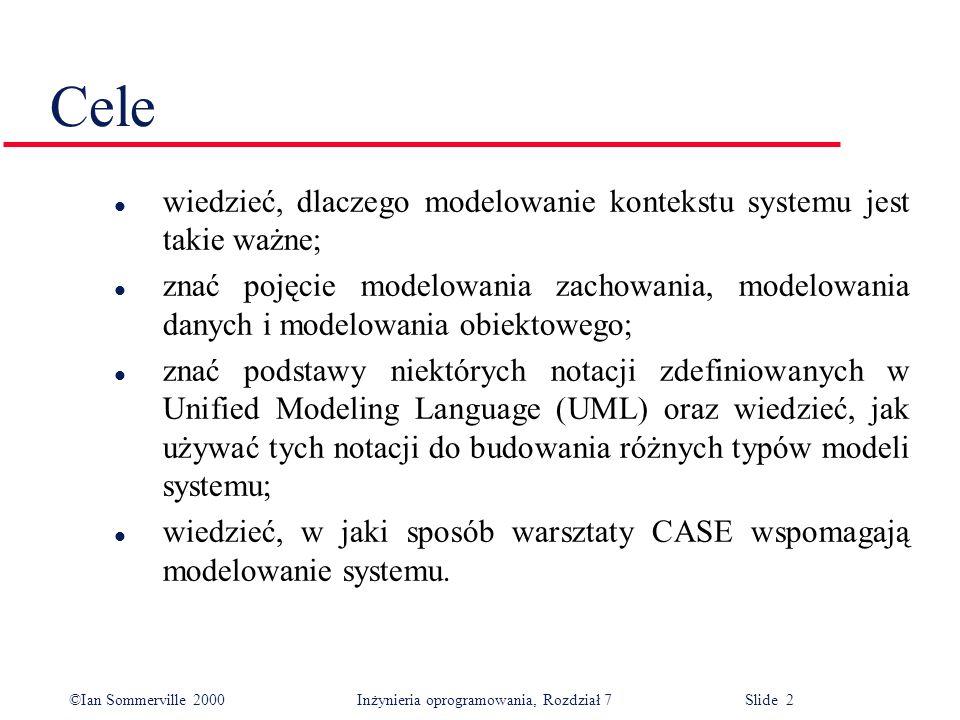 ©Ian Sommerville 2000 Inżynieria oprogramowania, Rozdział 7 Slide 3 Zawartość l Modele kontekstowe l Modele zachowania l Modele danych l Modele obiektowe l Warsztaty CASE