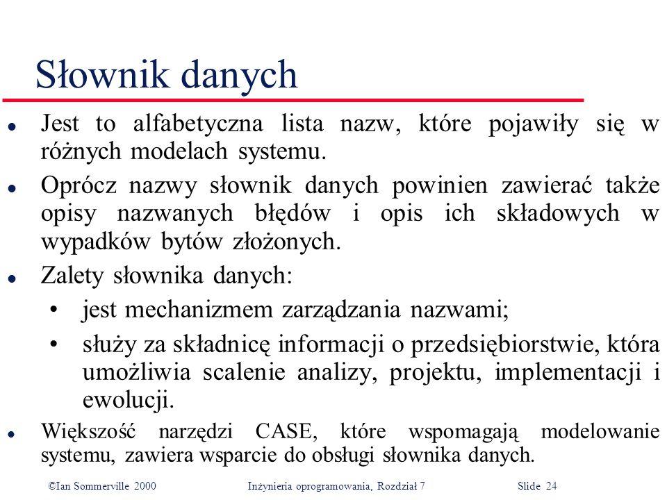 ©Ian Sommerville 2000 Inżynieria oprogramowania, Rozdział 7 Slide 24 Słownik danych l Jest to alfabetyczna lista nazw, które pojawiły się w różnych mo