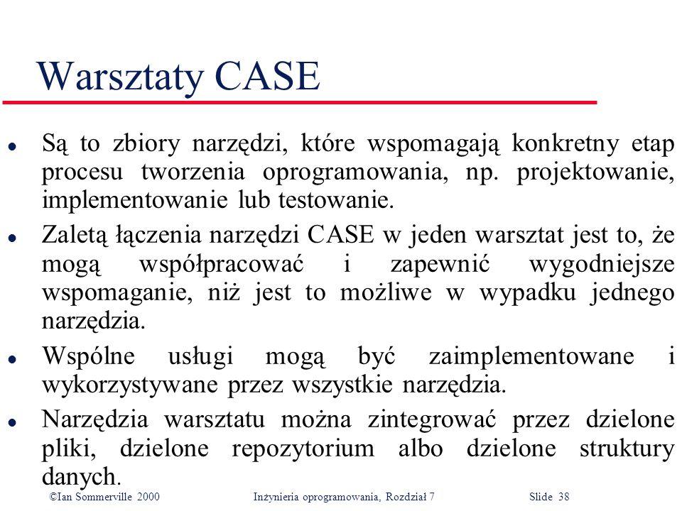 ©Ian Sommerville 2000 Inżynieria oprogramowania, Rozdział 7 Slide 38 Warsztaty CASE l Są to zbiory narzędzi, które wspomagają konkretny etap procesu t