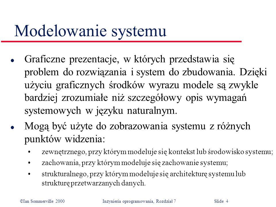 ©Ian Sommerville 2000 Inżynieria oprogramowania, Rozdział 7 Slide 4 Modelowanie systemu l Graficzne prezentacje, w których przedstawia się problem do