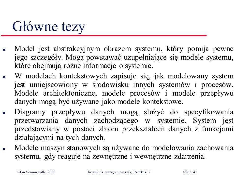 ©Ian Sommerville 2000 Inżynieria oprogramowania, Rozdział 7 Slide 41 Główne tezy l Model jest abstrakcyjnym obrazem systemu, który pomija pewne jego s