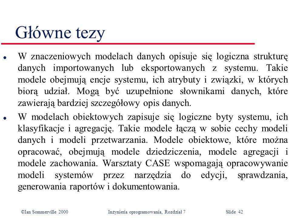 ©Ian Sommerville 2000 Inżynieria oprogramowania, Rozdział 7 Slide 42 Główne tezy l W znaczeniowych modelach danych opisuje się logiczna strukturę dany