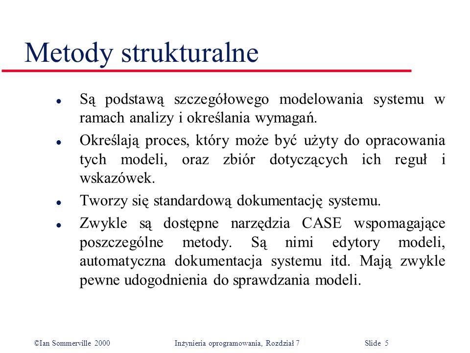 ©Ian Sommerville 2000 Inżynieria oprogramowania, Rozdział 7 Slide 6 Słabości metody analizy strukturalnej l Niewystarczająco wspomagają rozpoznawanie i modelowanie niefunkcjonalnych wymagań systemowych.