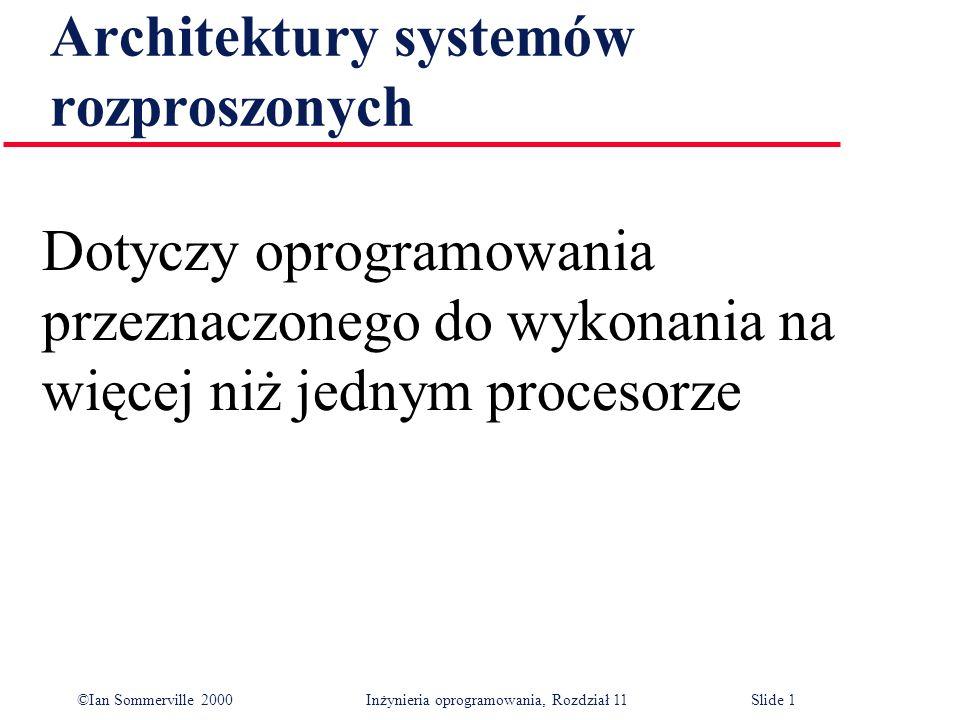 ©Ian Sommerville 2000 Inżynieria oprogramowania, Rozdział 11Slide 1 Architektury systemów rozproszonych Dotyczy oprogramowania przeznaczonego do wykon