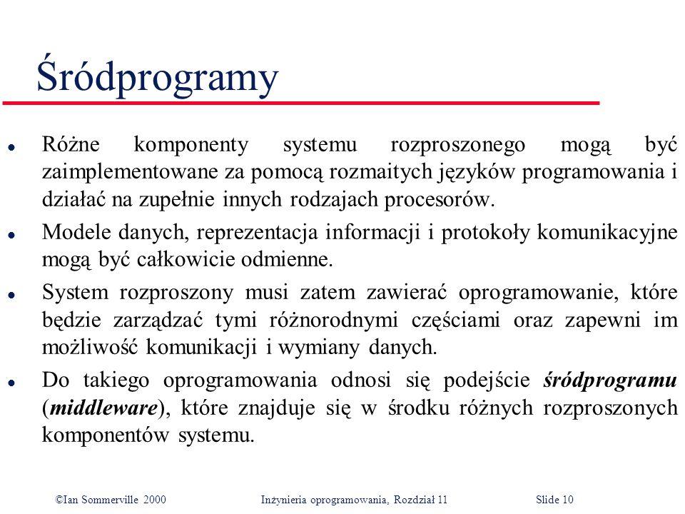 ©Ian Sommerville 2000 Inżynieria oprogramowania, Rozdział 11Slide 10 Śródprogramy l Różne komponenty systemu rozproszonego mogą być zaimplementowane z