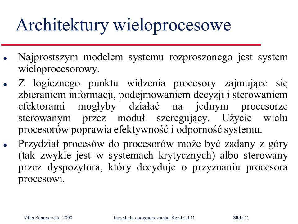©Ian Sommerville 2000 Inżynieria oprogramowania, Rozdział 11Slide 11 Architektury wieloprocesowe l Najprostszym modelem systemu rozproszonego jest sys