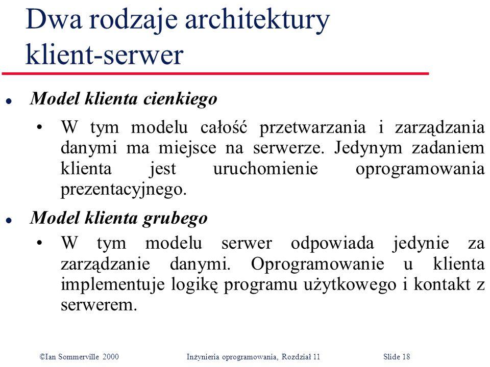 ©Ian Sommerville 2000 Inżynieria oprogramowania, Rozdział 11Slide 18 Dwa rodzaje architektury klient-serwer l Model klienta cienkiego W tym modelu cał