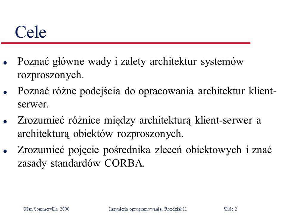 ©Ian Sommerville 2000 Inżynieria oprogramowania, Rozdział 11Slide 2 Cele l Poznać główne wady i zalety architektur systemów rozproszonych. l Poznać ró