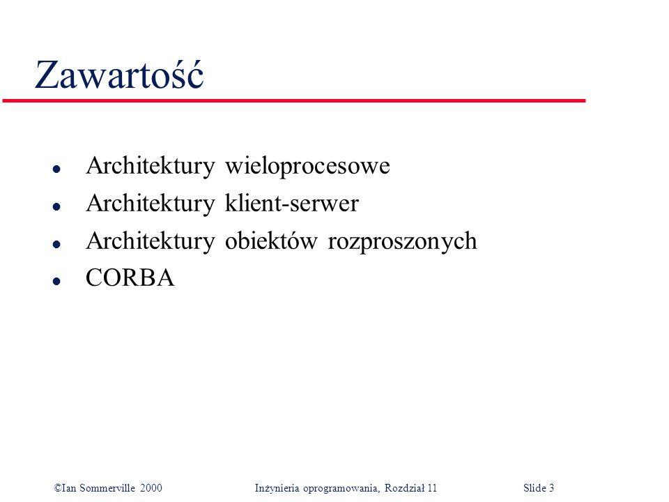 ©Ian Sommerville 2000 Inżynieria oprogramowania, Rozdział 11Slide 3 Zawartość l Architektury wieloprocesowe l Architektury klient-serwer l Architektur