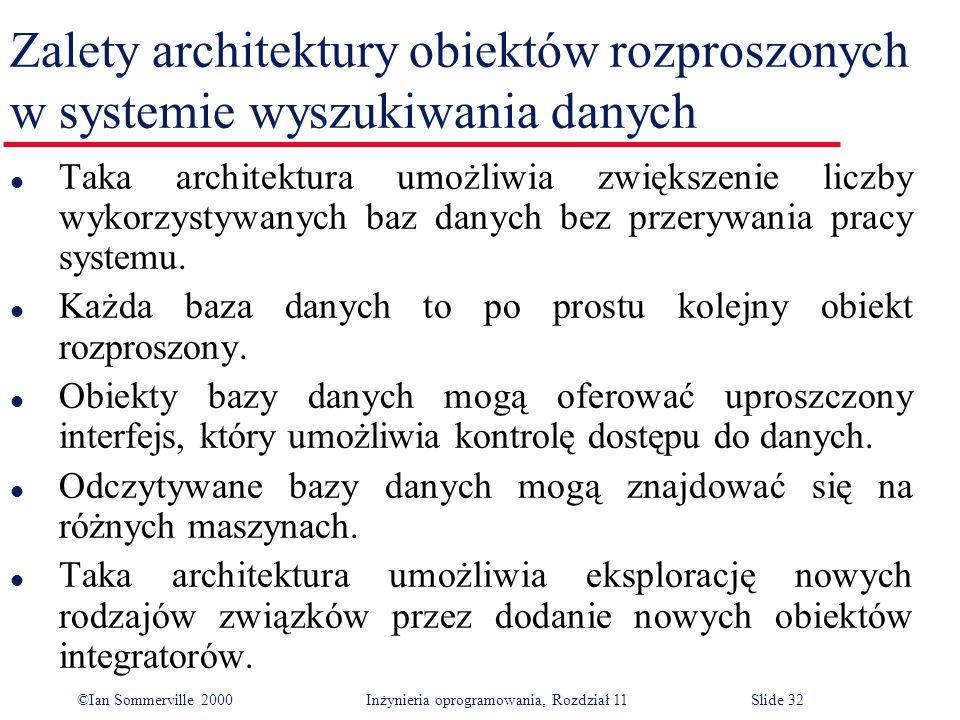 ©Ian Sommerville 2000 Inżynieria oprogramowania, Rozdział 11Slide 32 Zalety architektury obiektów rozproszonych w systemie wyszukiwania danych l Taka