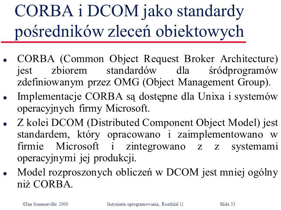 ©Ian Sommerville 2000 Inżynieria oprogramowania, Rozdział 11Slide 33 CORBA i DCOM jako standardy pośredników zleceń obiektowych l CORBA (Common Object