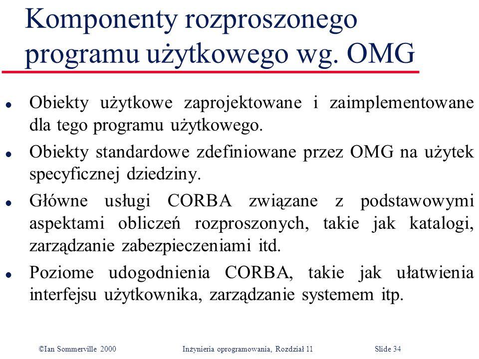 ©Ian Sommerville 2000 Inżynieria oprogramowania, Rozdział 11Slide 34 Komponenty rozproszonego programu użytkowego wg. OMG l Obiekty użytkowe zaprojekt