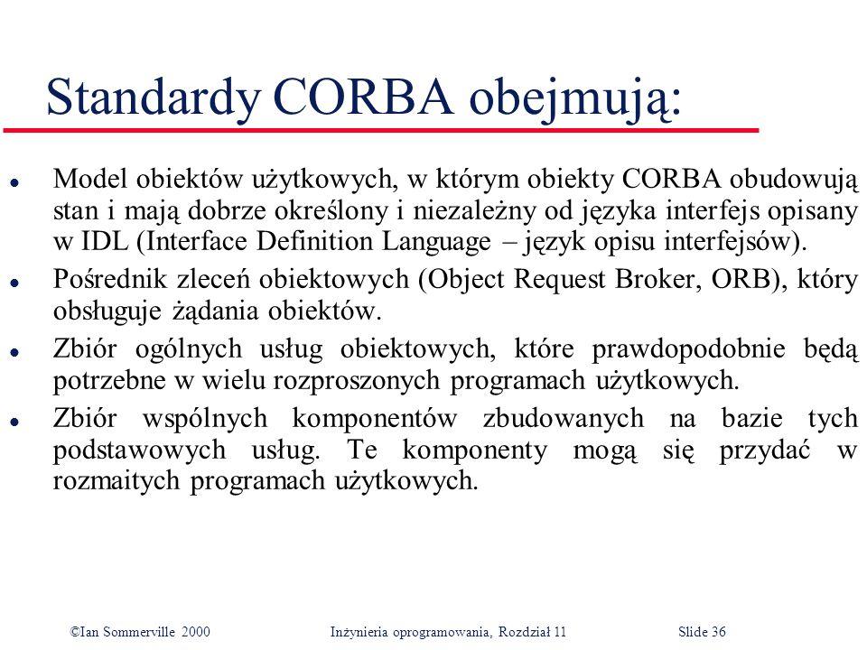©Ian Sommerville 2000 Inżynieria oprogramowania, Rozdział 11Slide 36 Standardy CORBA obejmują: l Model obiektów użytkowych, w którym obiekty CORBA obu