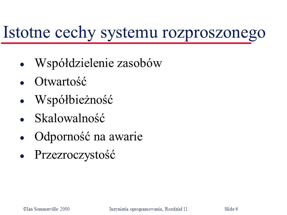 ©Ian Sommerville 2000 Inżynieria oprogramowania, Rozdział 11Slide 6 Istotne cechy systemu rozproszonego l Współdzielenie zasobów l Otwartość l Współbi