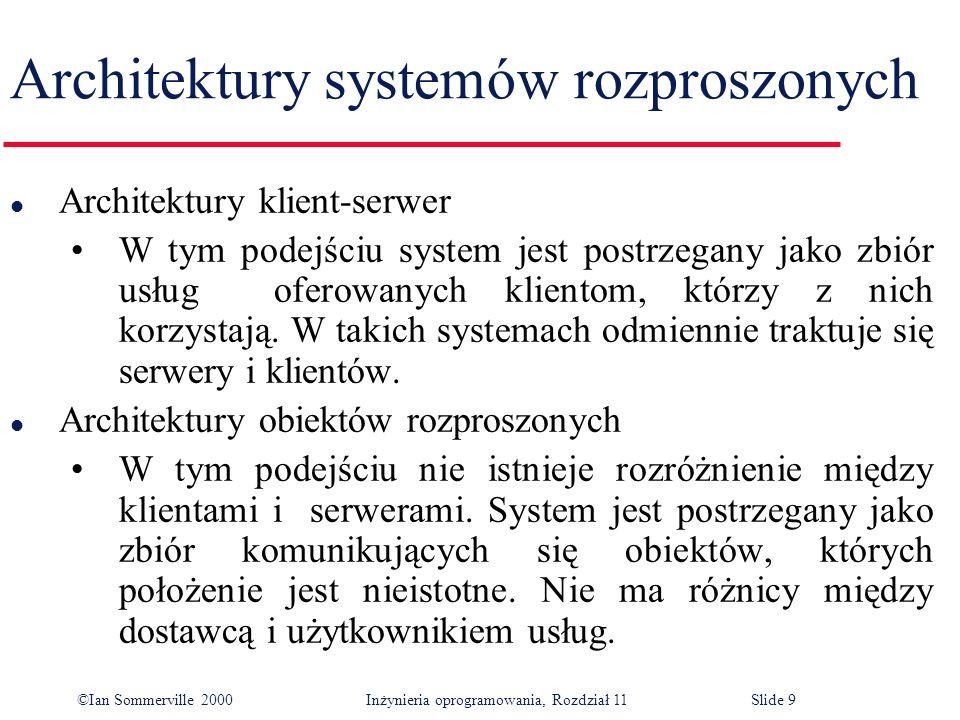 ©Ian Sommerville 2000 Inżynieria oprogramowania, Rozdział 11Slide 9 Architektury systemów rozproszonych l Architektury klient-serwer W tym podejściu s