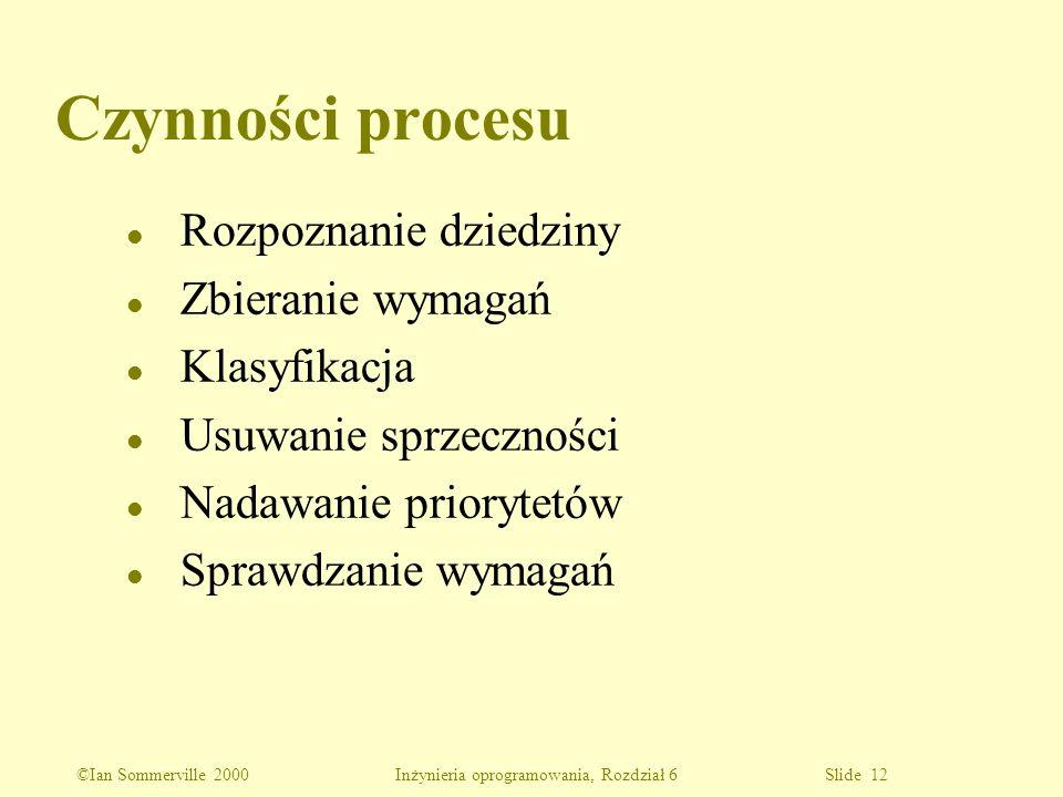 ©Ian Sommerville 2000 Inżynieria oprogramowania, Rozdział 6 Slide 12 Czynności procesu l Rozpoznanie dziedziny l Zbieranie wymagań l Klasyfikacja l Us