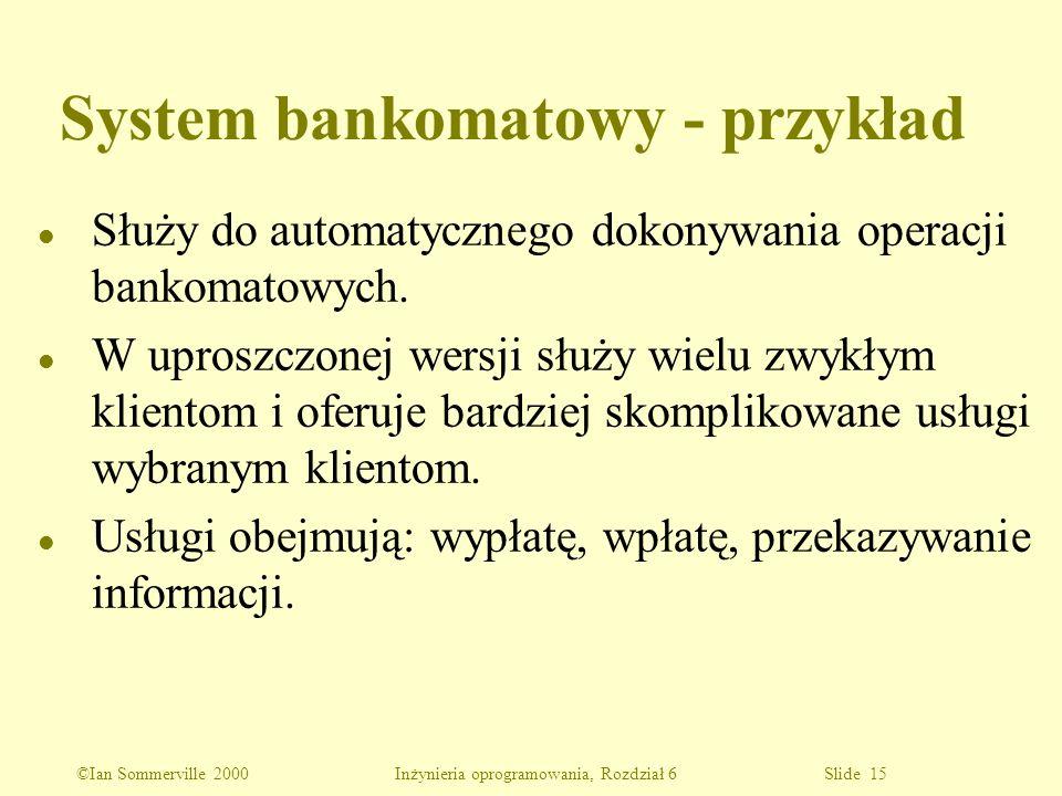 ©Ian Sommerville 2000 Inżynieria oprogramowania, Rozdział 6 Slide 15 System bankomatowy - przykład l Służy do automatycznego dokonywania operacji bank