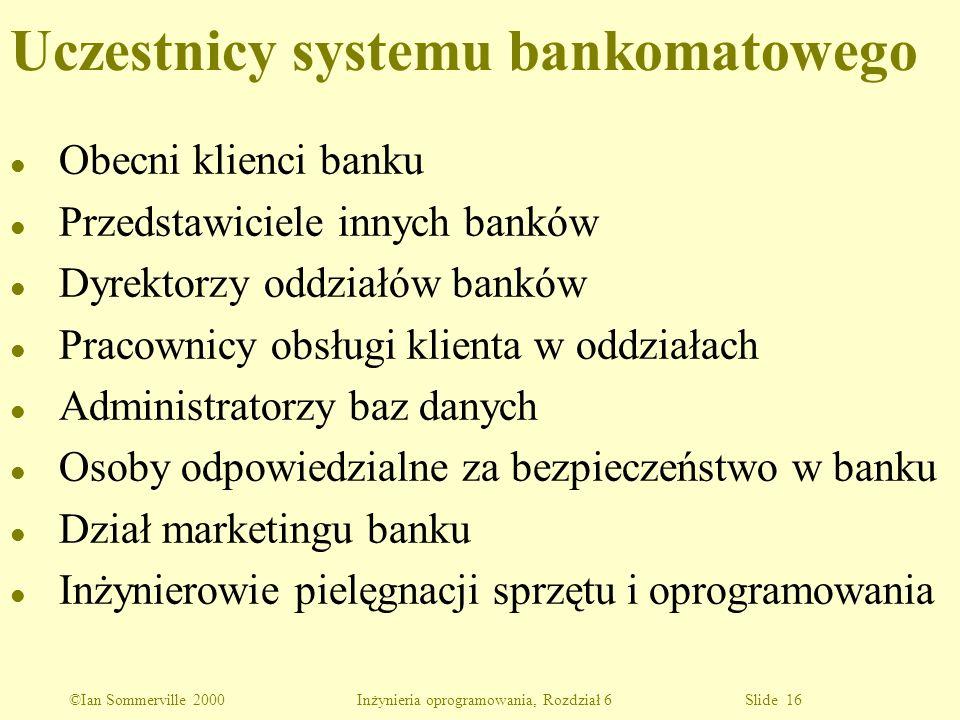 ©Ian Sommerville 2000 Inżynieria oprogramowania, Rozdział 6 Slide 16 Uczestnicy systemu bankomatowego l Obecni klienci banku l Przedstawiciele innych