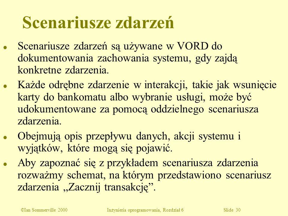 ©Ian Sommerville 2000 Inżynieria oprogramowania, Rozdział 6 Slide 30 l Scenariusze zdarzeń są używane w VORD do dokumentowania zachowania systemu, gdy