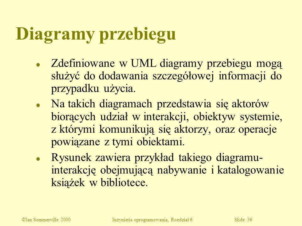 ©Ian Sommerville 2000 Inżynieria oprogramowania, Rozdział 6 Slide 36 Diagramy przebiegu l Zdefiniowane w UML diagramy przebiegu mogą służyć do dodawan