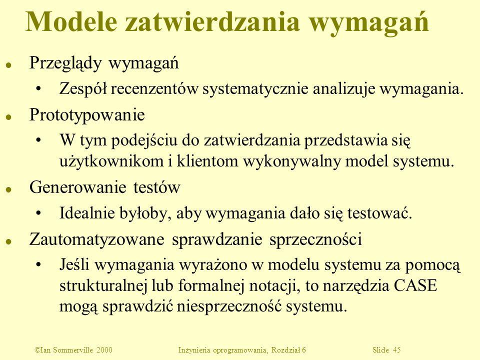 ©Ian Sommerville 2000 Inżynieria oprogramowania, Rozdział 6 Slide 45 l Przeglądy wymagań Zespół recenzentów systematycznie analizuje wymagania. l Prot