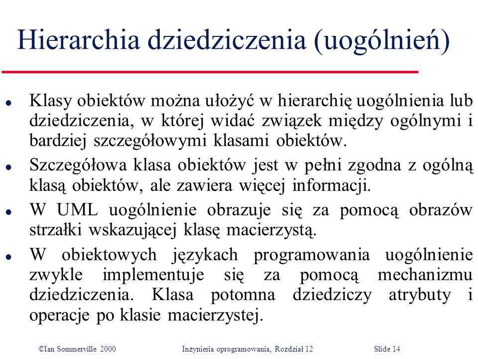 ©Ian Sommerville 2000 Inżynieria oprogramowania, Rozdział 12Slide 14 Hierarchia dziedziczenia (uogólnień) l Klasy obiektów można ułożyć w hierarchię u