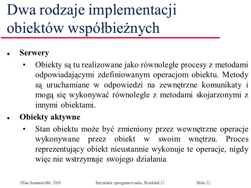 ©Ian Sommerville 2000 Inżynieria oprogramowania, Rozdział 12Slide 22 Dwa rodzaje implementacji obiektów współbieżnych l Serwery Obiekty są tu realizow