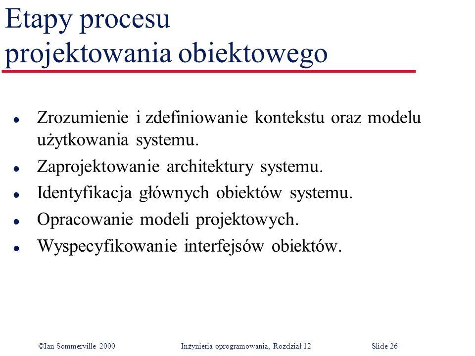 ©Ian Sommerville 2000 Inżynieria oprogramowania, Rozdział 12Slide 26 Etapy procesu projektowania obiektowego l Zrozumienie i zdefiniowanie kontekstu o