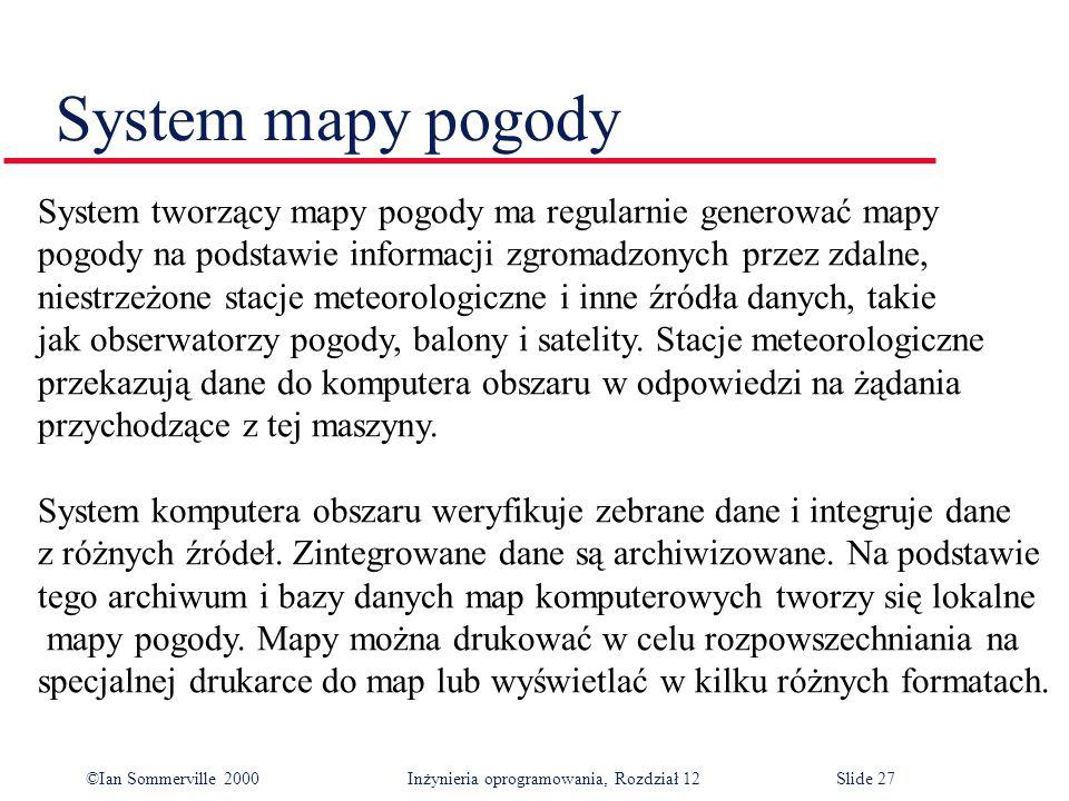 ©Ian Sommerville 2000 Inżynieria oprogramowania, Rozdział 12Slide 27 System mapy pogody System tworzący mapy pogody ma regularnie generować mapy pogod