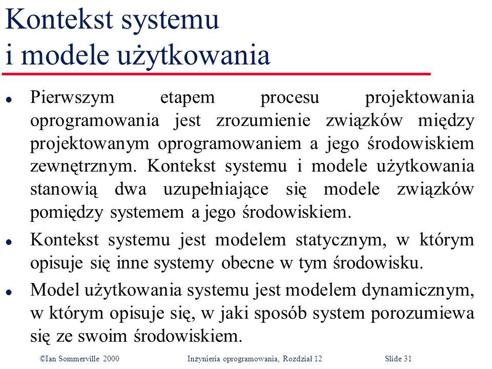 ©Ian Sommerville 2000 Inżynieria oprogramowania, Rozdział 12Slide 31 Kontekst systemu i modele użytkowania l Pierwszym etapem procesu projektowania op