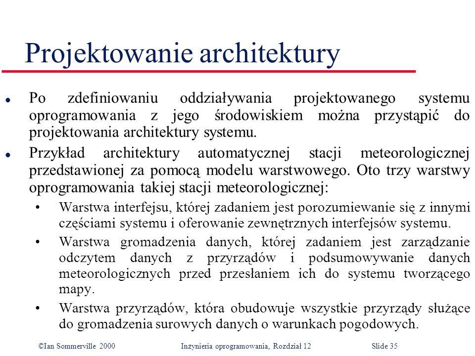 ©Ian Sommerville 2000 Inżynieria oprogramowania, Rozdział 12Slide 35 Projektowanie architektury l Po zdefiniowaniu oddziaływania projektowanego system