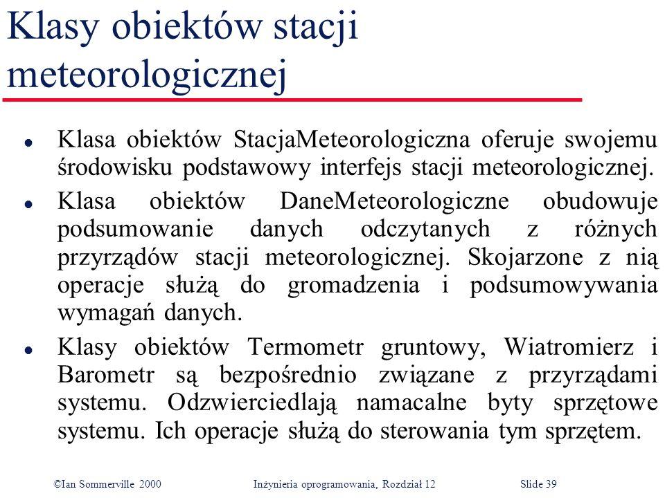 ©Ian Sommerville 2000 Inżynieria oprogramowania, Rozdział 12Slide 39 Klasy obiektów stacji meteorologicznej l Klasa obiektów StacjaMeteorologiczna ofe