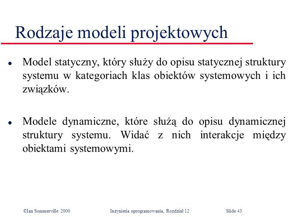 ©Ian Sommerville 2000 Inżynieria oprogramowania, Rozdział 12Slide 43 Rodzaje modeli projektowych l Model statyczny, który służy do opisu statycznej st