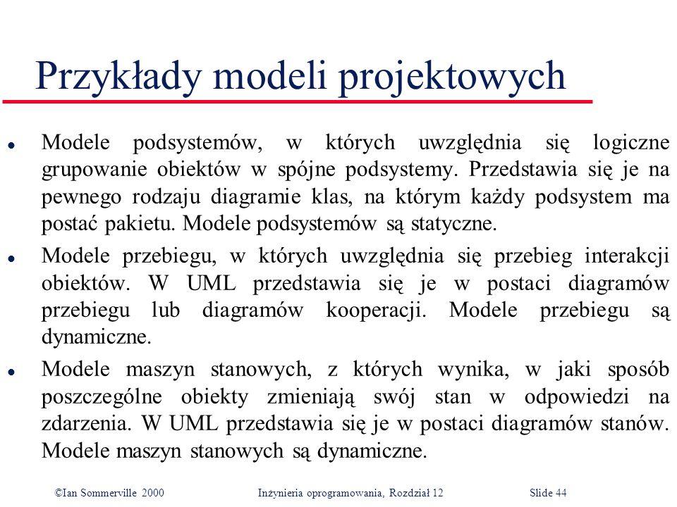 ©Ian Sommerville 2000 Inżynieria oprogramowania, Rozdział 12Slide 44 Przykłady modeli projektowych l Modele podsystemów, w których uwzględnia się logi