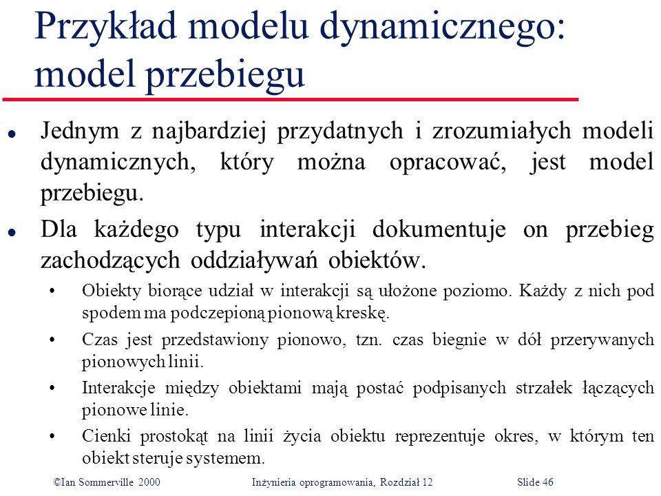 ©Ian Sommerville 2000 Inżynieria oprogramowania, Rozdział 12Slide 46 Przykład modelu dynamicznego: model przebiegu l Jednym z najbardziej przydatnych