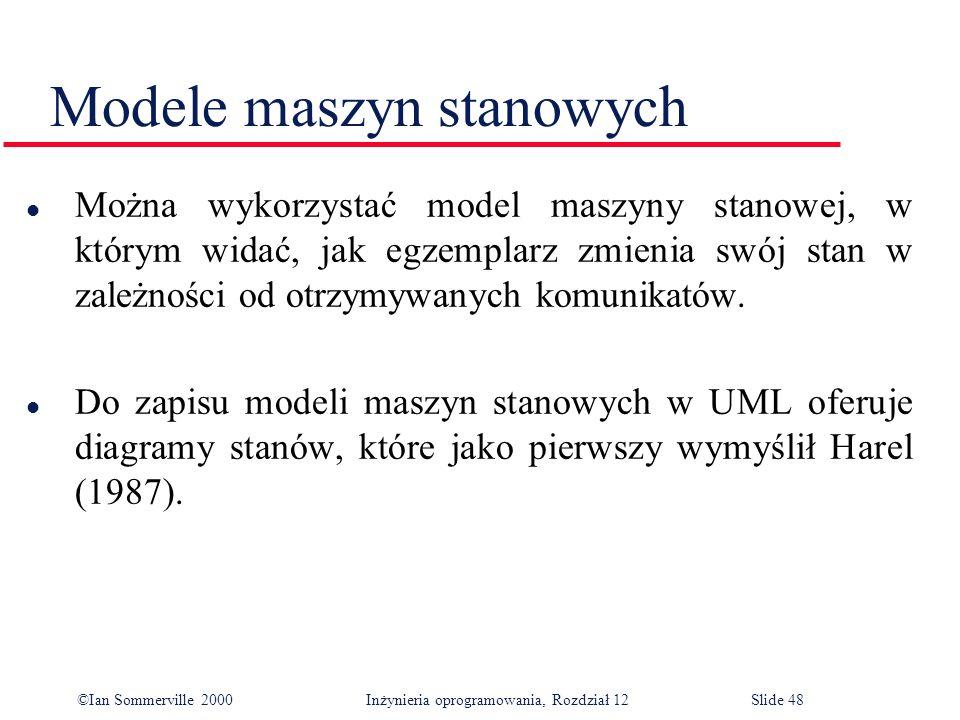 ©Ian Sommerville 2000 Inżynieria oprogramowania, Rozdział 12Slide 48 Modele maszyn stanowych l Można wykorzystać model maszyny stanowej, w którym wida