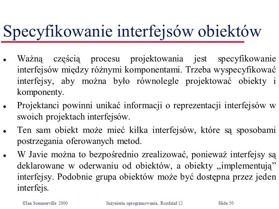 ©Ian Sommerville 2000 Inżynieria oprogramowania, Rozdział 12Slide 50 Specyfikowanie interfejsów obiektów l Ważną częścią procesu projektowania jest sp