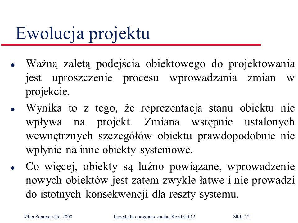 ©Ian Sommerville 2000 Inżynieria oprogramowania, Rozdział 12Slide 52 Ewolucja projektu l Ważną zaletą podejścia obiektowego do projektowania jest upro