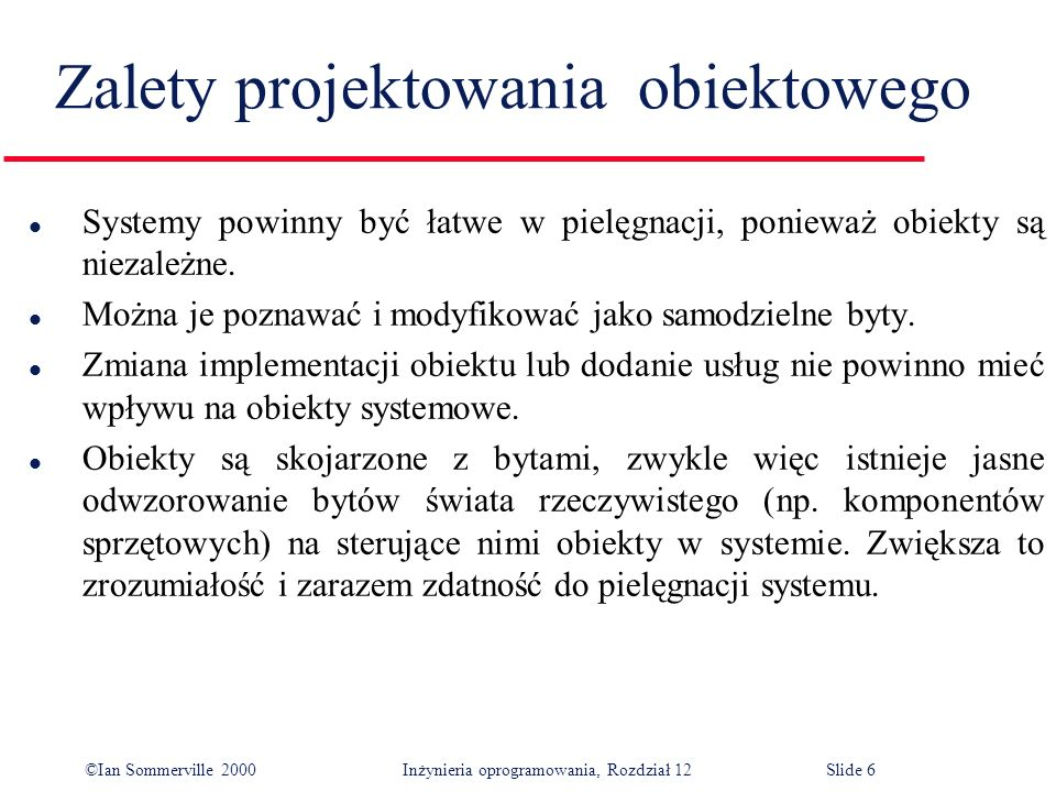 ©Ian Sommerville 2000 Inżynieria oprogramowania, Rozdział 12Slide 17 Problems with inheritance l Object classes are not self-contained.